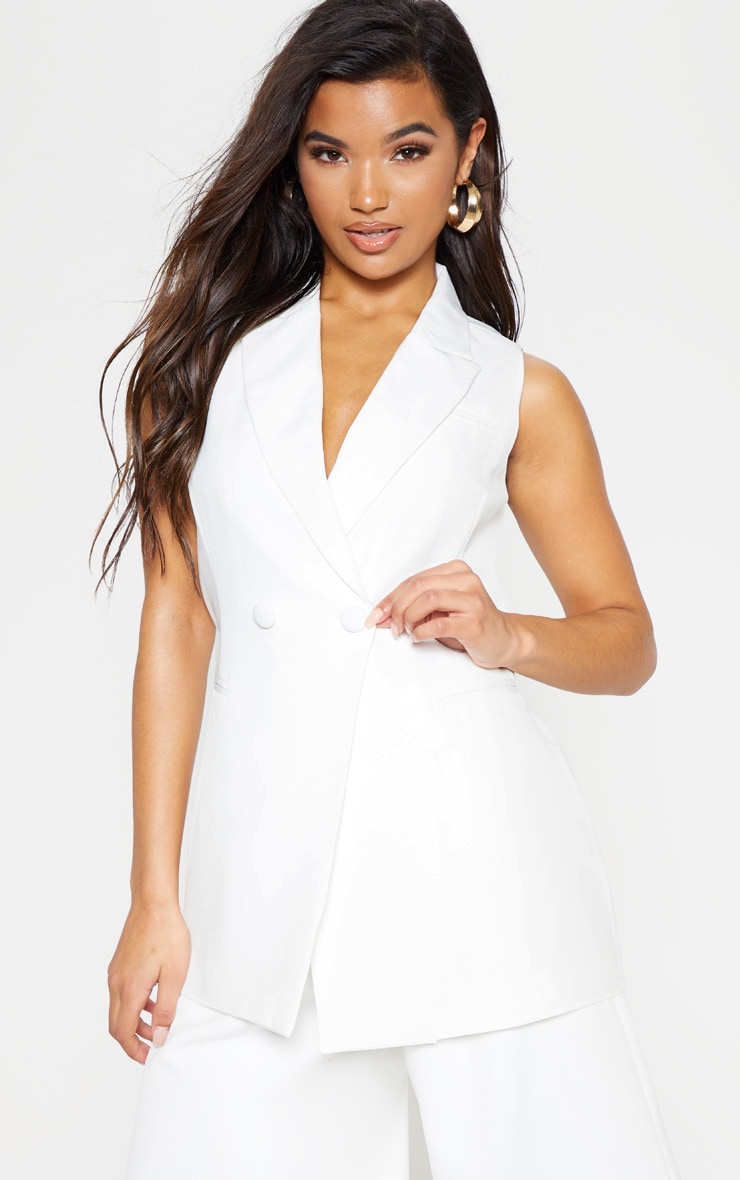 White Sleeveless Bodycon Blazer