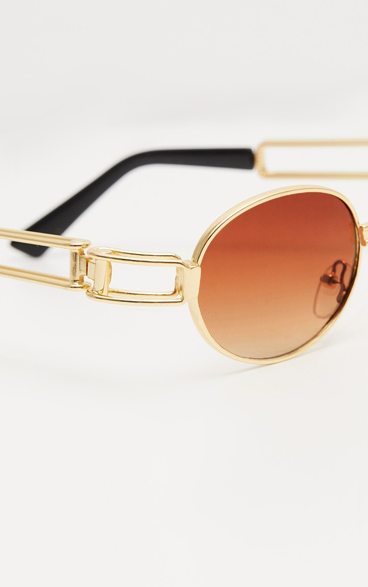 Gold Oval Metal Frame Sunglasses 5