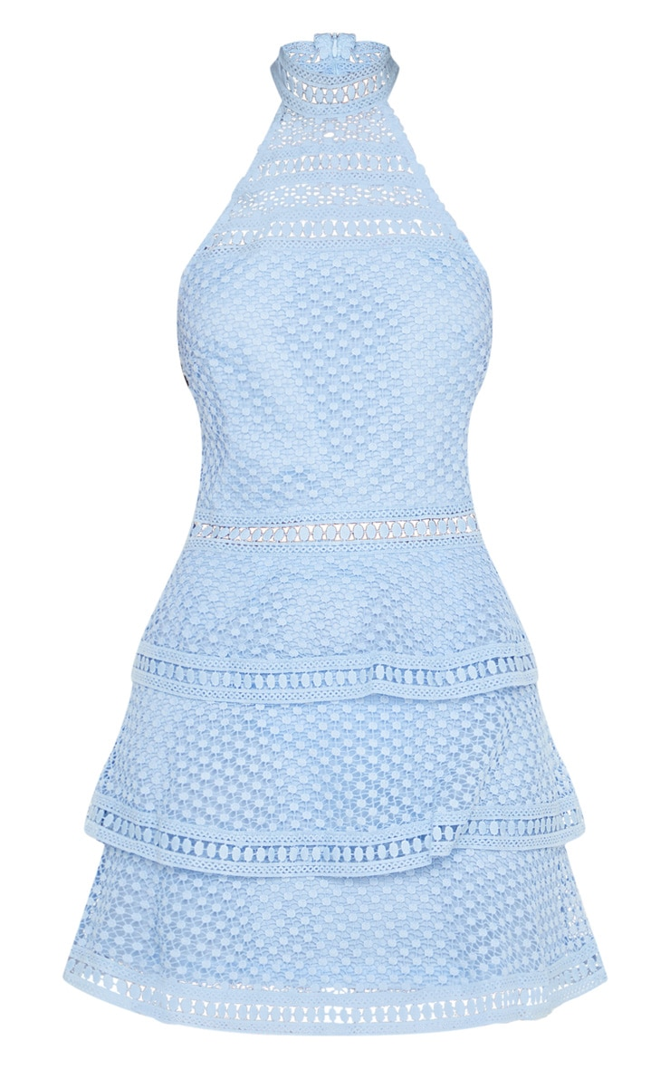 Raine Dusty Blue Lace Panel Tiered Bodycon Dress 3