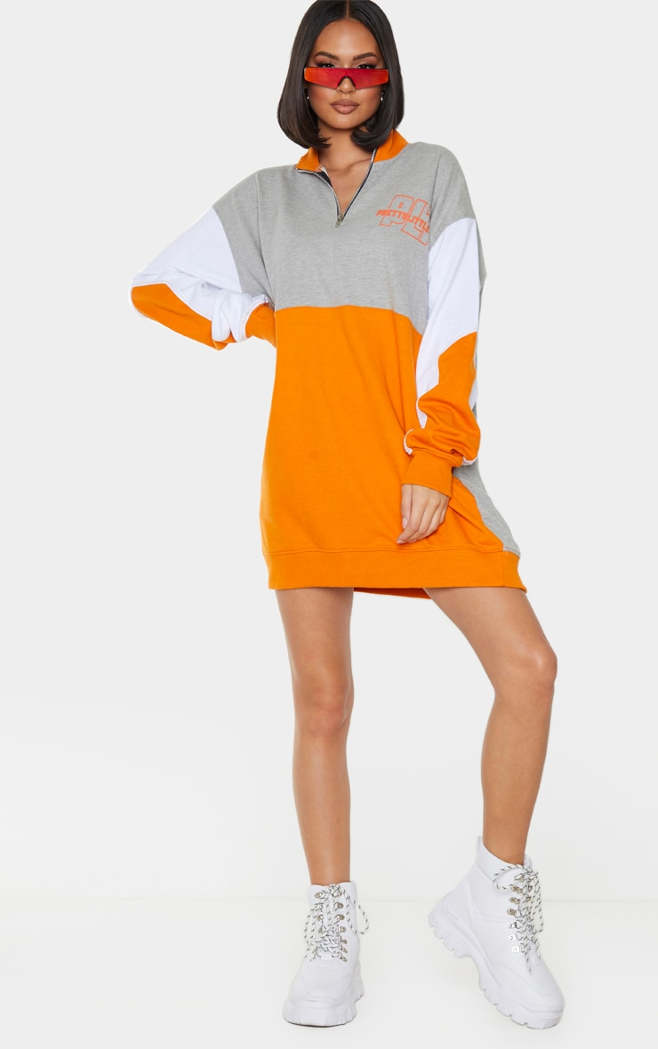 PRETTYLITTLETHING Grey Contrast Colour Detail Zip Neck Jumper Dress 3