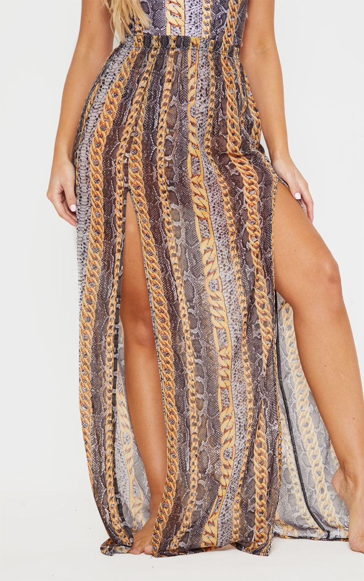 Black Chain Snake Print Split Front Maxi Skirt 2