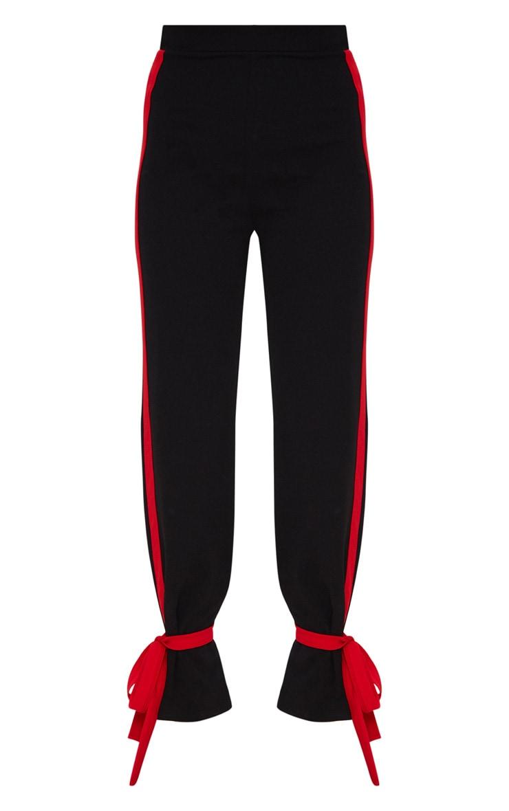 Black Contrast Stripe Tie Hem Trouser 3