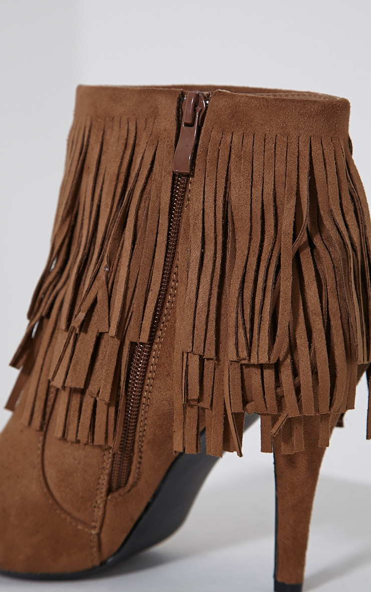 Torah Tan Pointed Fringe Suede Boots 6