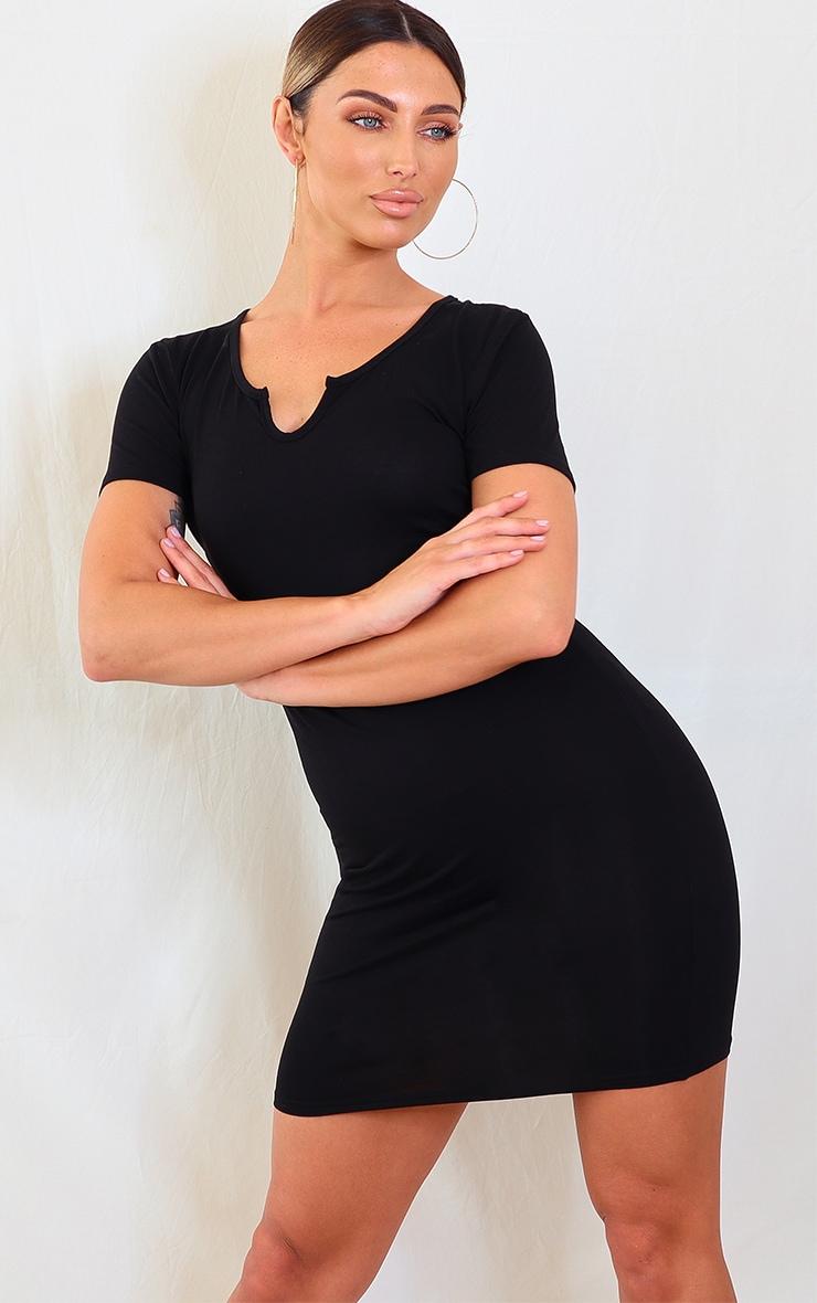 Black Jersey Split Neck Bodycon Dress 1