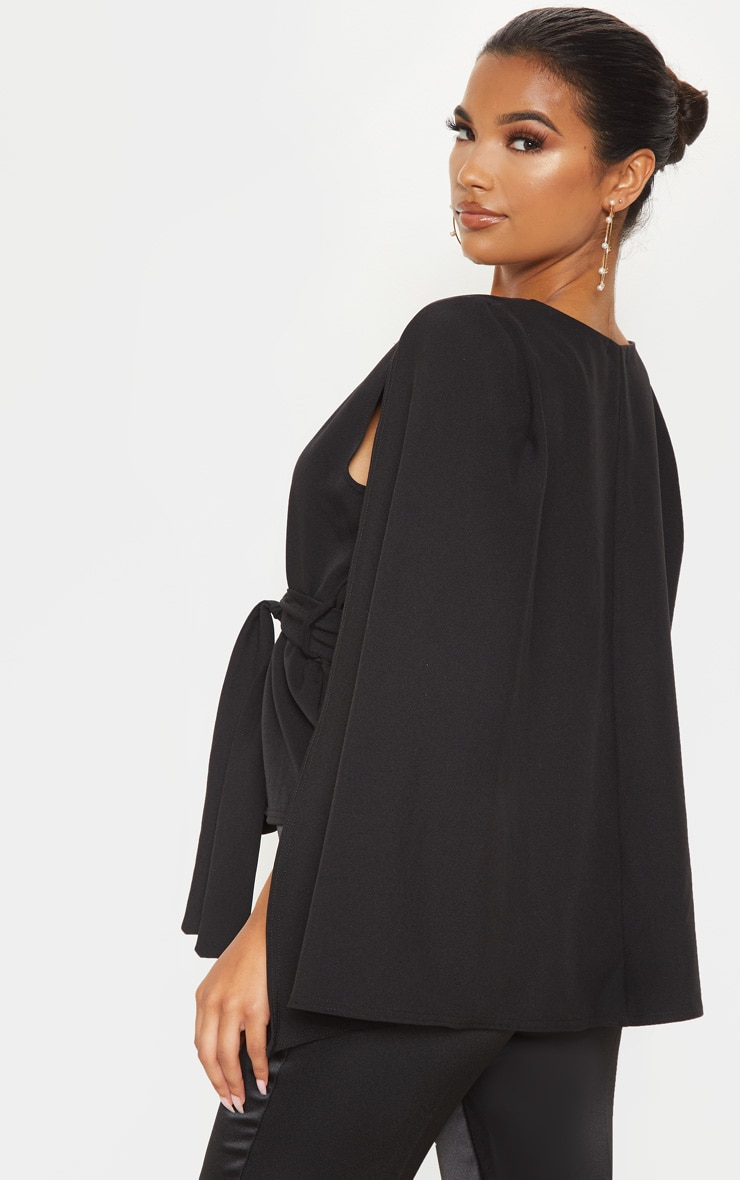 Black Crepe Belted Cape Blazer 2