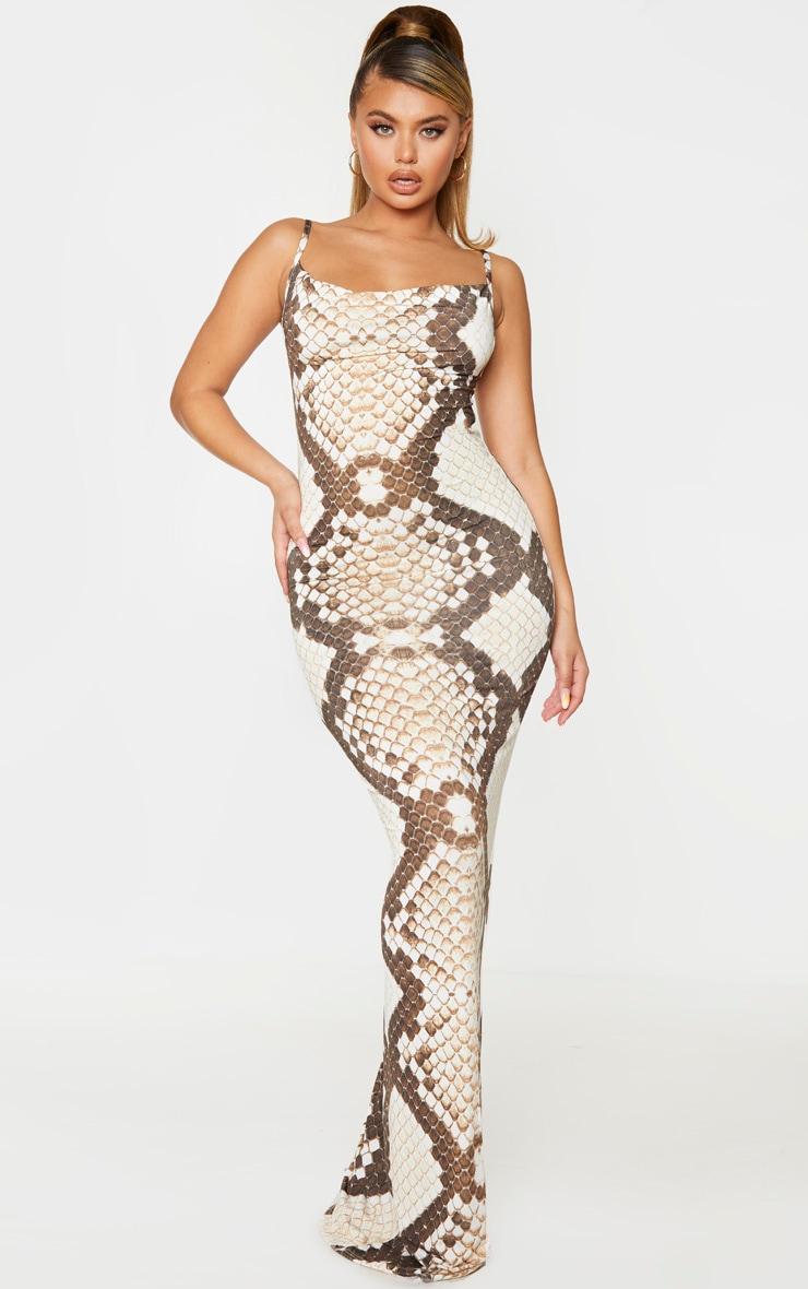 Brown Snake Print Cowl Neck Strappy Maxi Dress 1