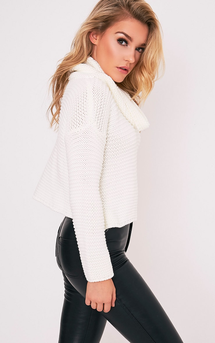 Resi Cream Roll Neck Long Sleeve Crop Jumper 5