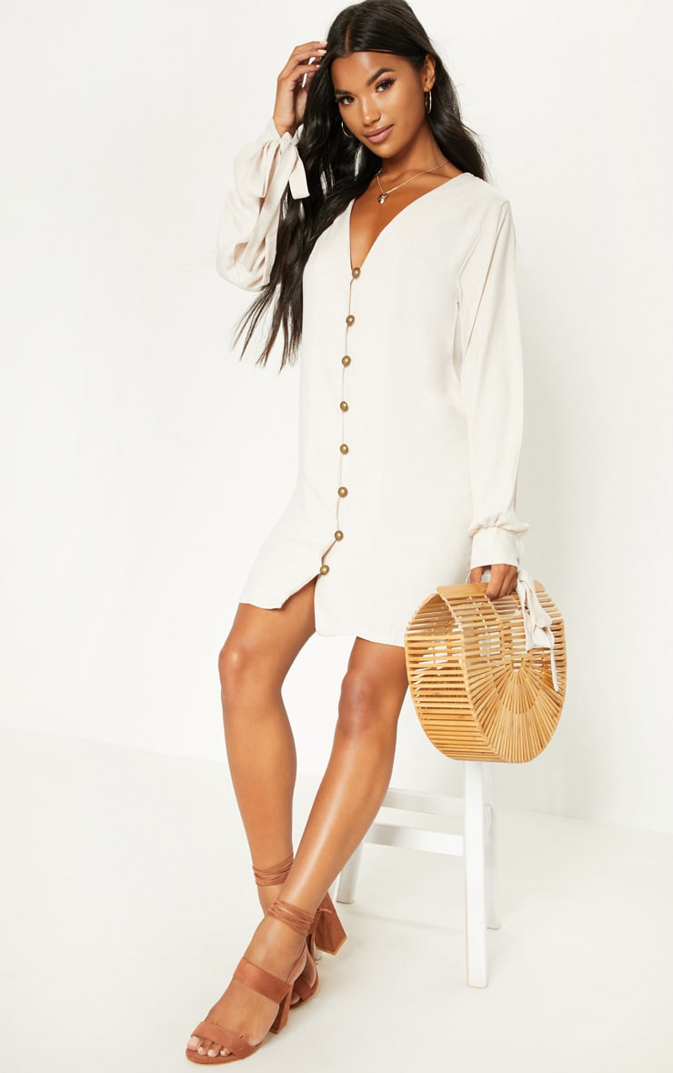 Stone Balloon Sleeve Shirt Dress