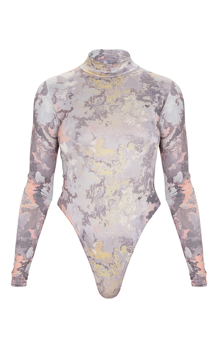 Grey Marble Printed Slinky High Neck Bodysuit 3