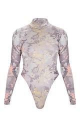 Grey Marble Printed Slinky High Neck Bodysuit 2