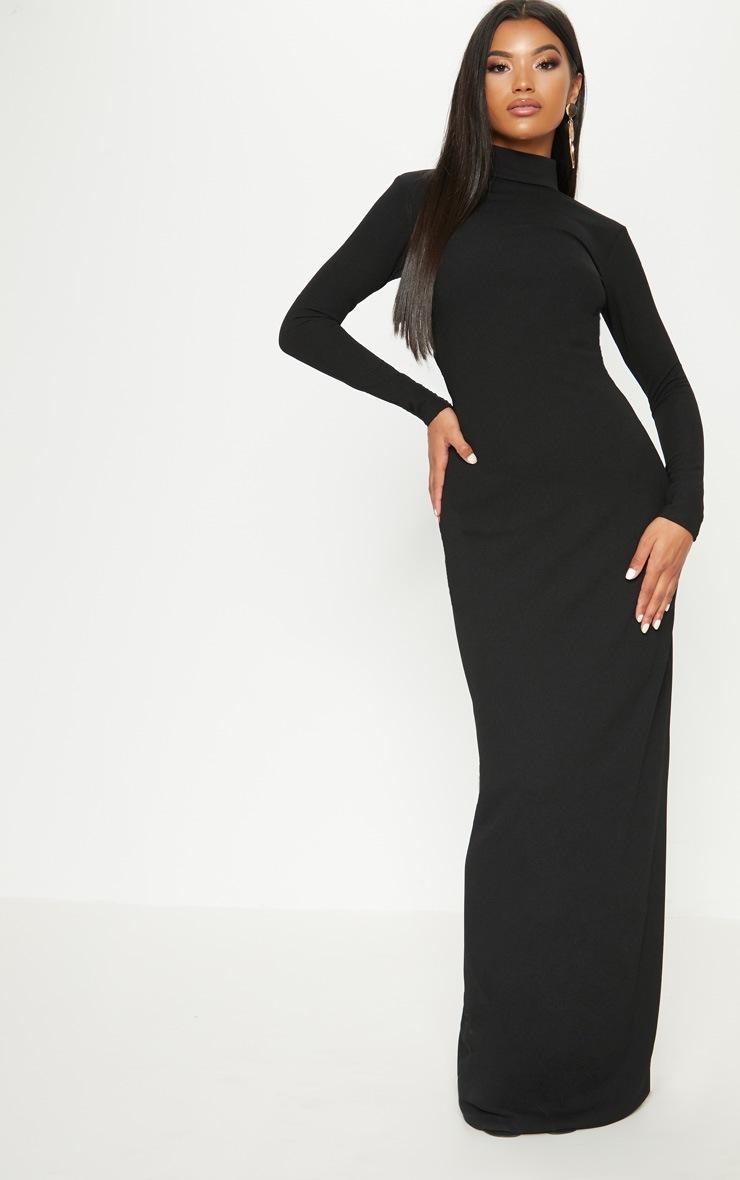 Black Mesh Cut Out Back Detail Maxi Dress 2