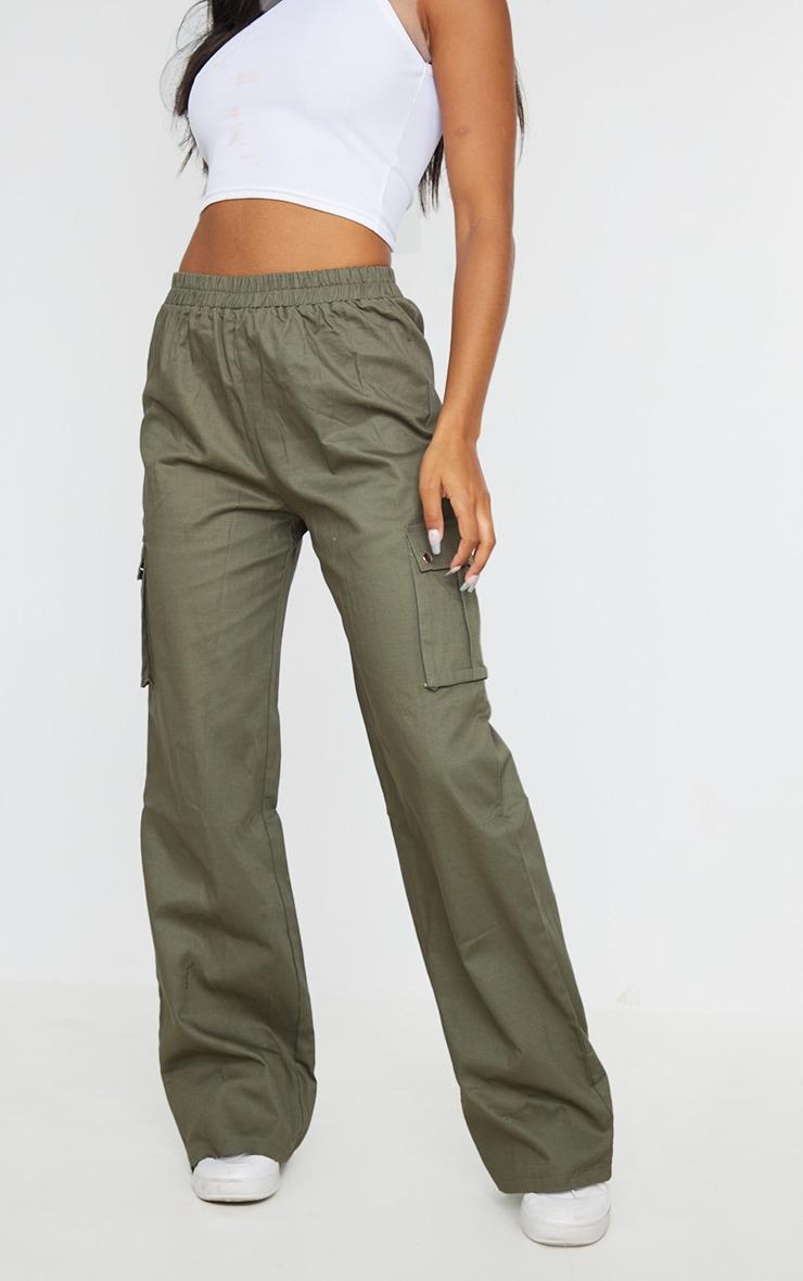Khaki Wide Leg Cargo Pants 2
