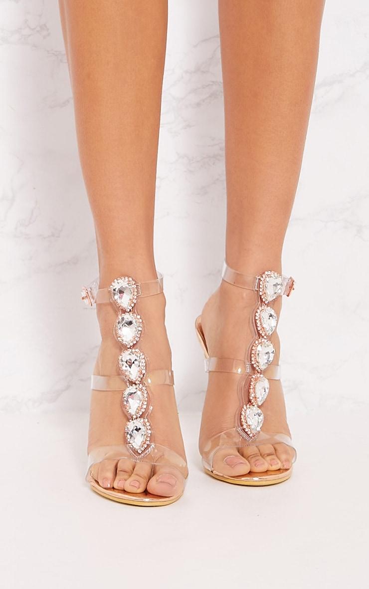 Gold Ankle Jewel Heeled Sandal 4