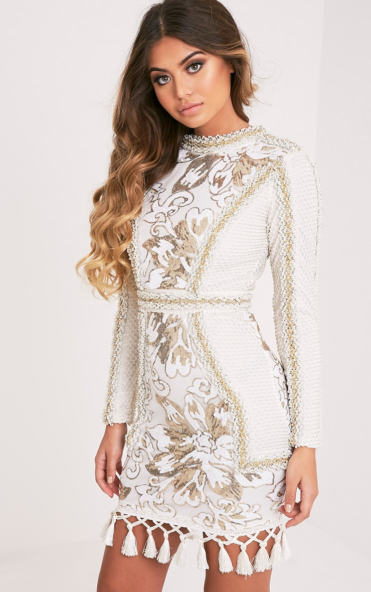 Nhyla White Premium Embellished Sequin Bodycon Dress 5