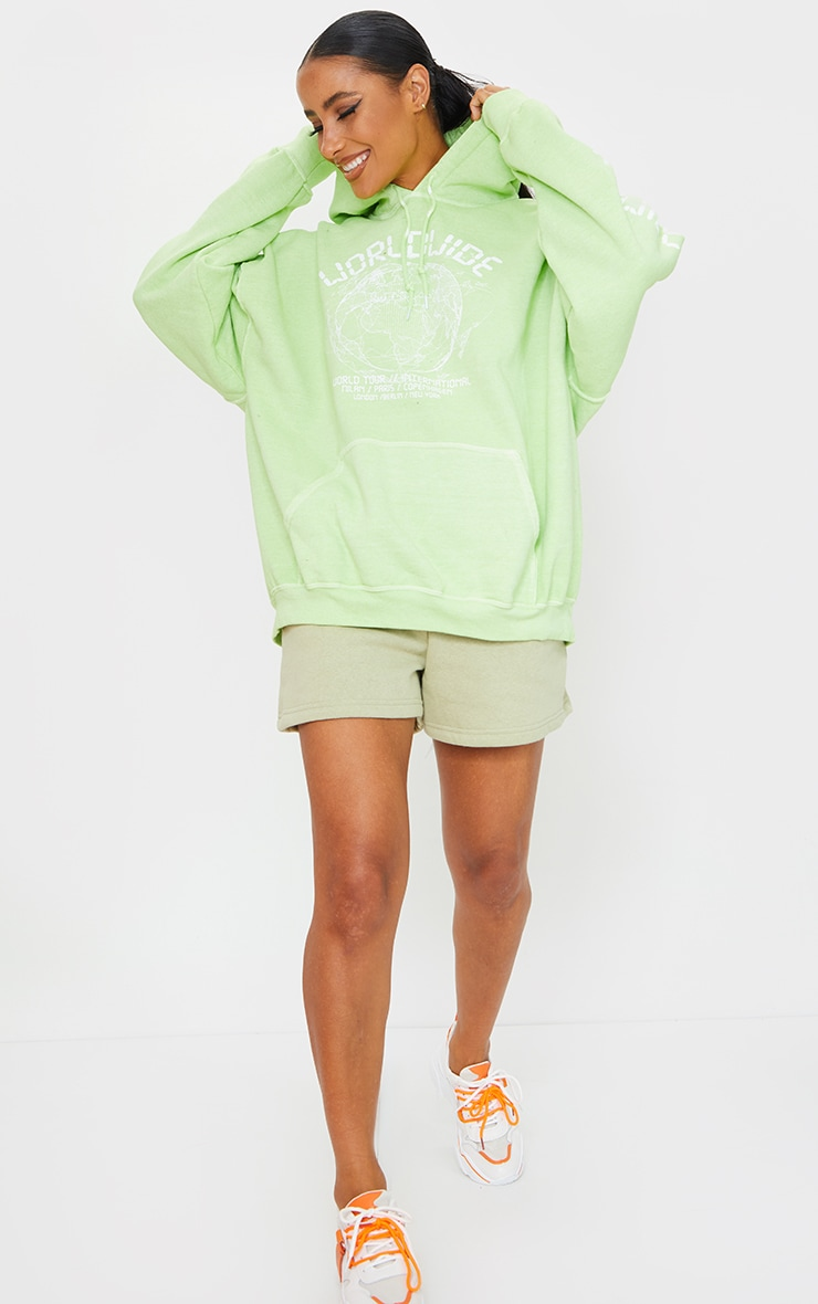 Lime Worldwide Slogan Oversized Hoodie 3