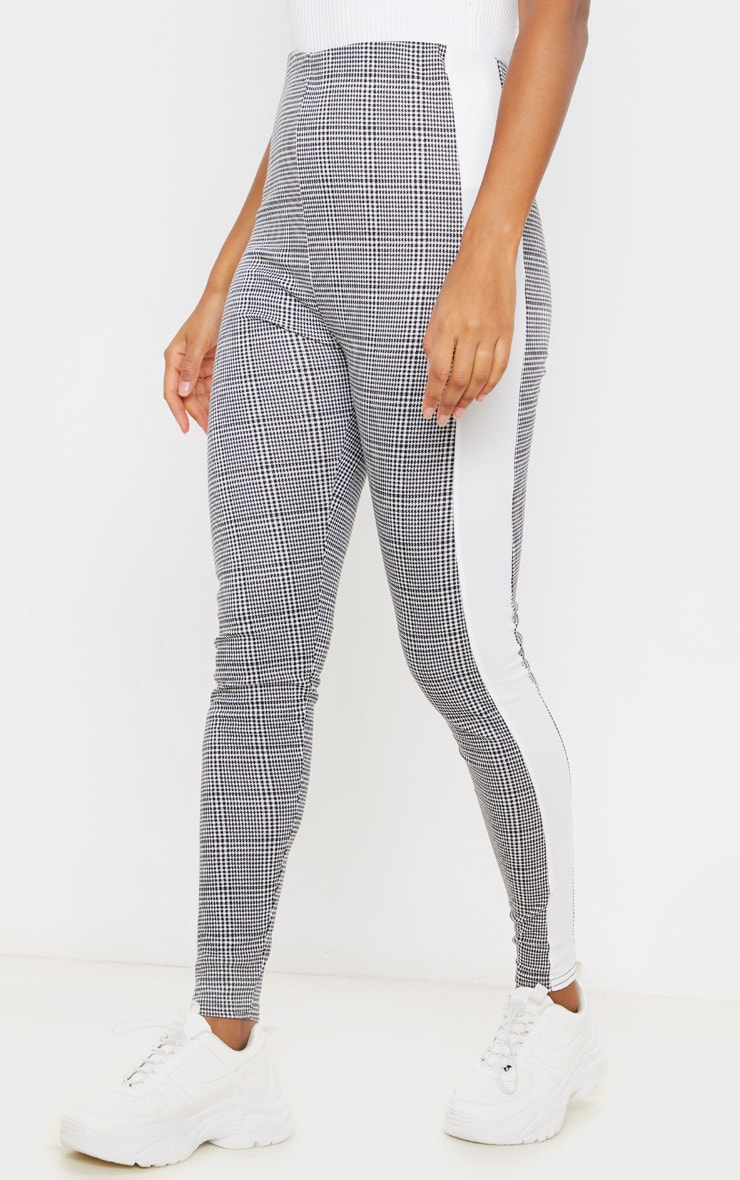 Black Checked Side Stripe Legging 2
