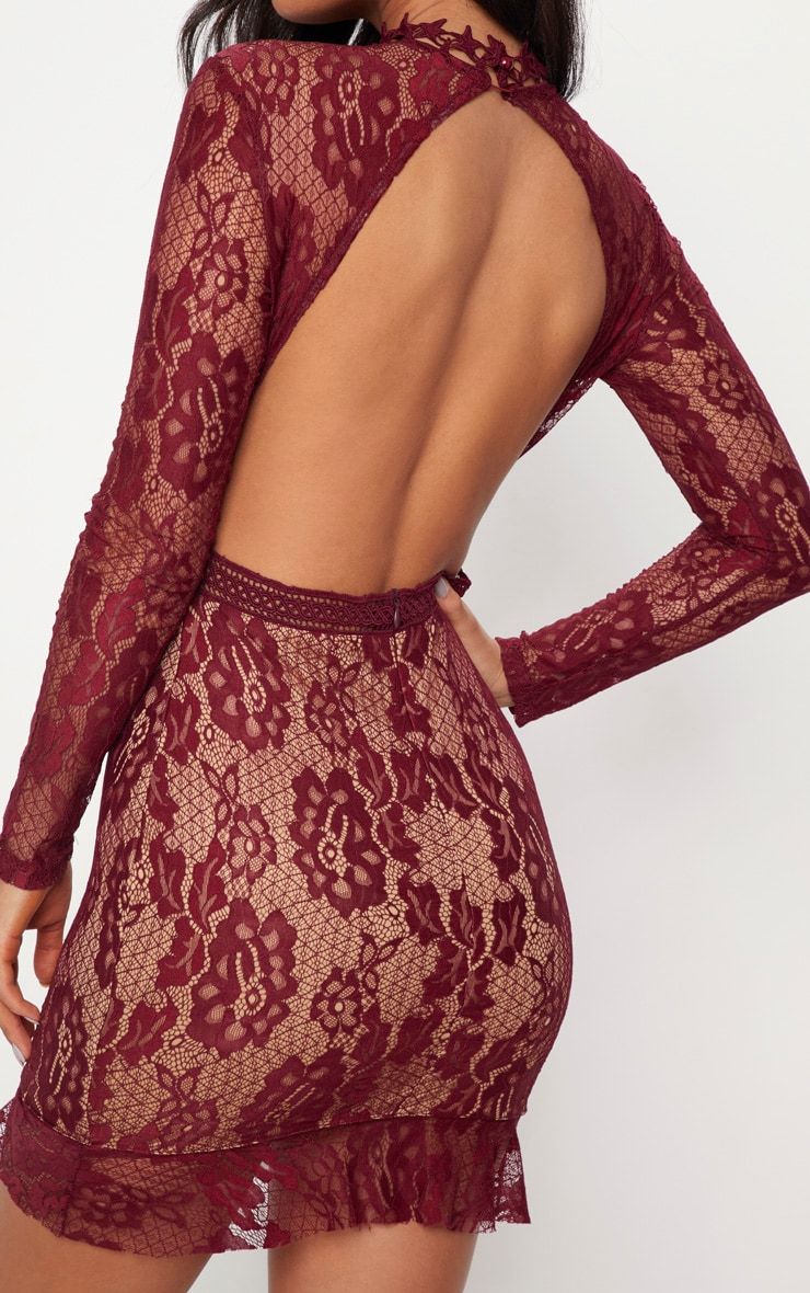 Burgundy Lace High Neck Open Back Bodycon Dress 5