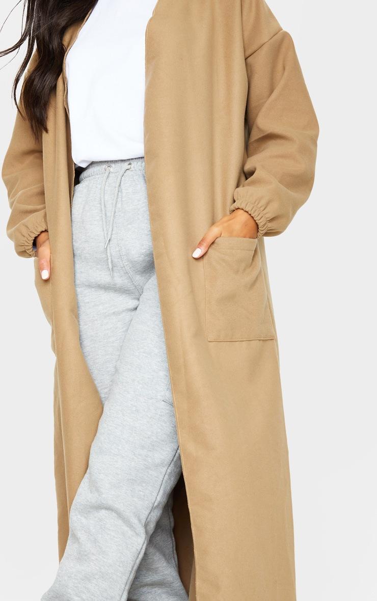 Camel Balloon Sleeve Maxi Pocket Front Coat 4