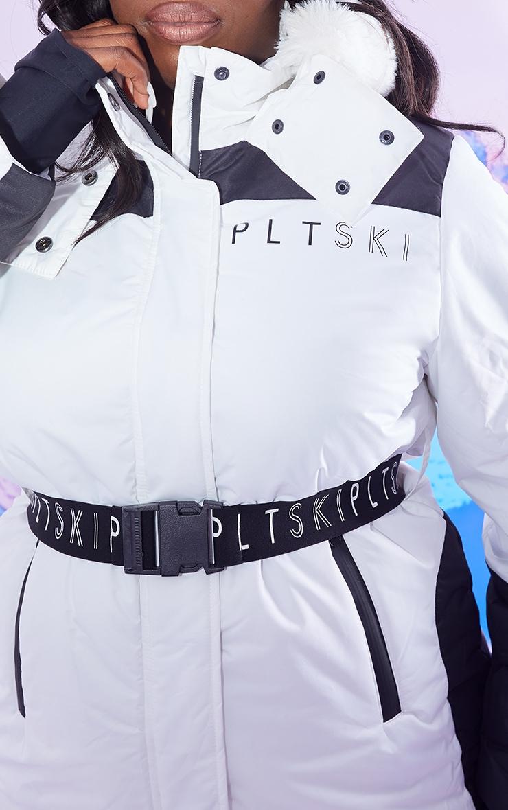 PRETTYLITTLETHING Plus Ski Monochrome Faux Fur Hooded Belted Ski Jacket 4