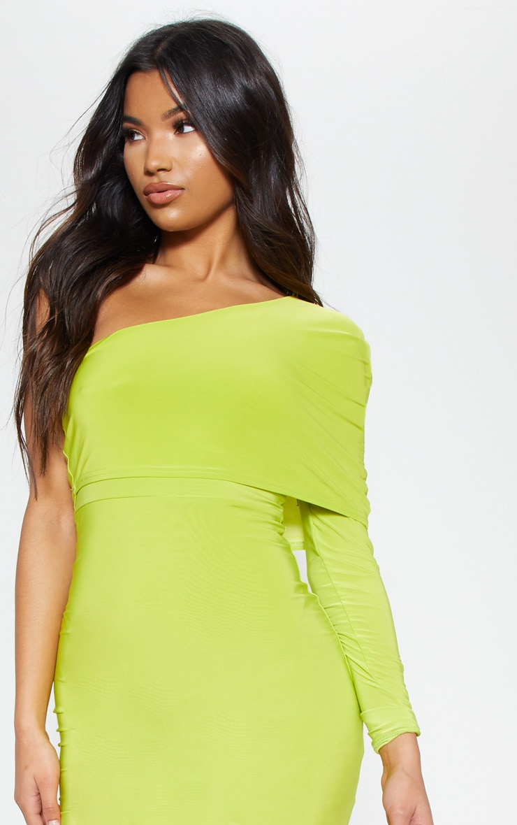 Lime Slinky One Shoulder Cape Detail Bodycon Dress 5