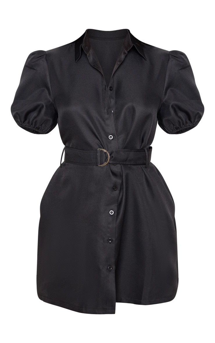 Black Puff Sleeve Belted Shirt Dress 3