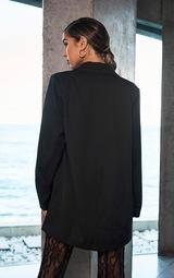 Black Oversized Light Weight Button Detail Blazer 1