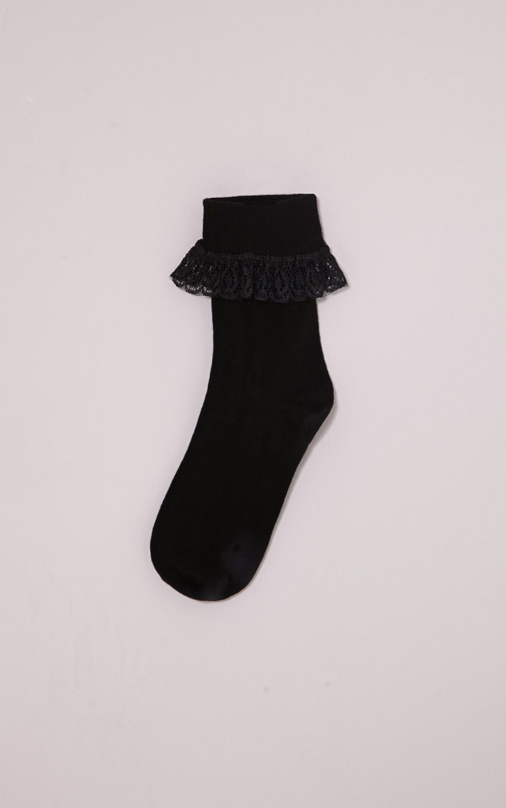 Macy Black Lace Frill Ankle Socks 4