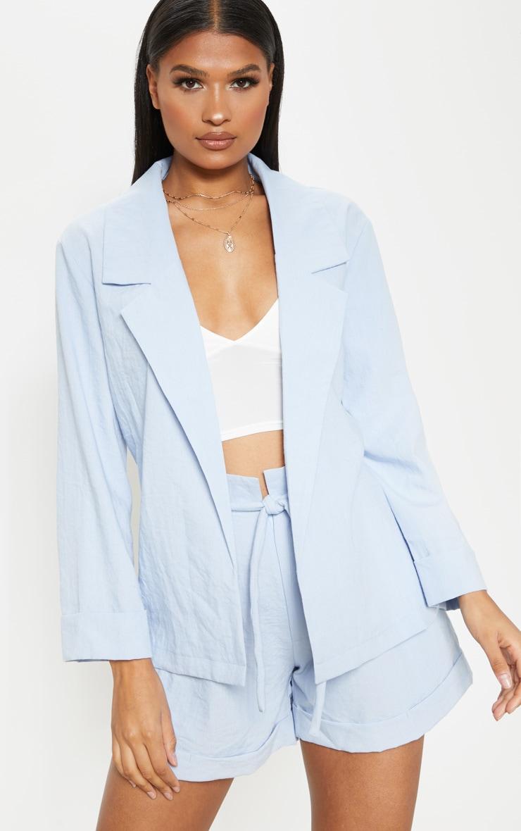 Blue Linen Woven Blazer 4