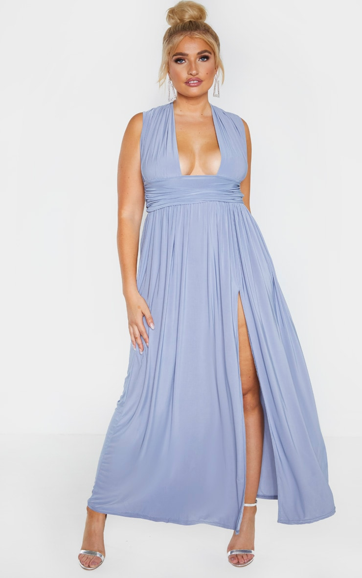 Plus Dusty Blue Ruched Plunge Maxi Dress 1