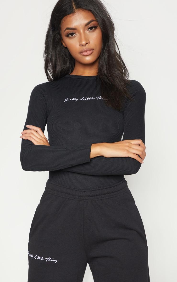 PRETTYLITTLETHING Black Rib Embroidered Bodysuit  5