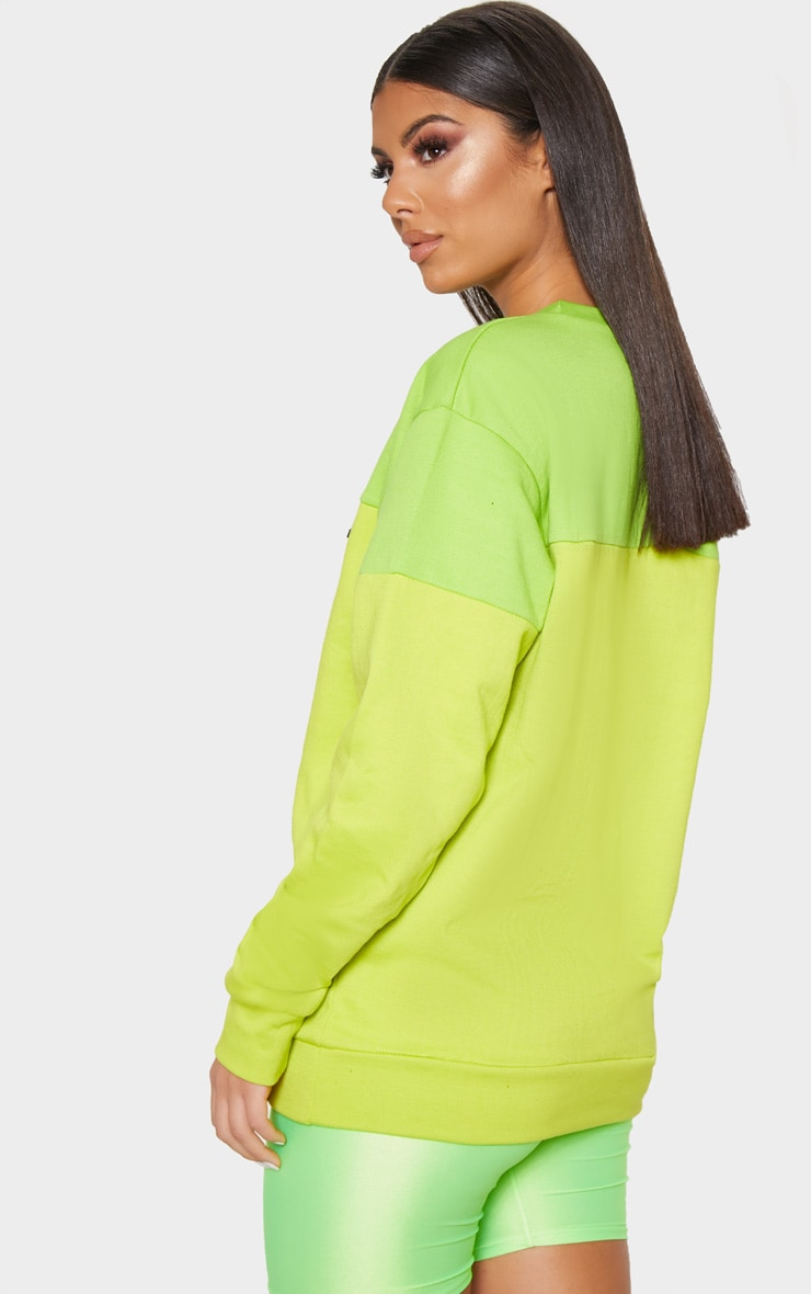 PLT Neon Lime Two Tone Oversized Sweater 2