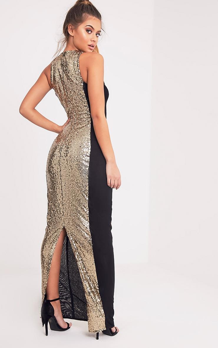 Carsie Gold Sleeveless Sequin Maxi Dress 5