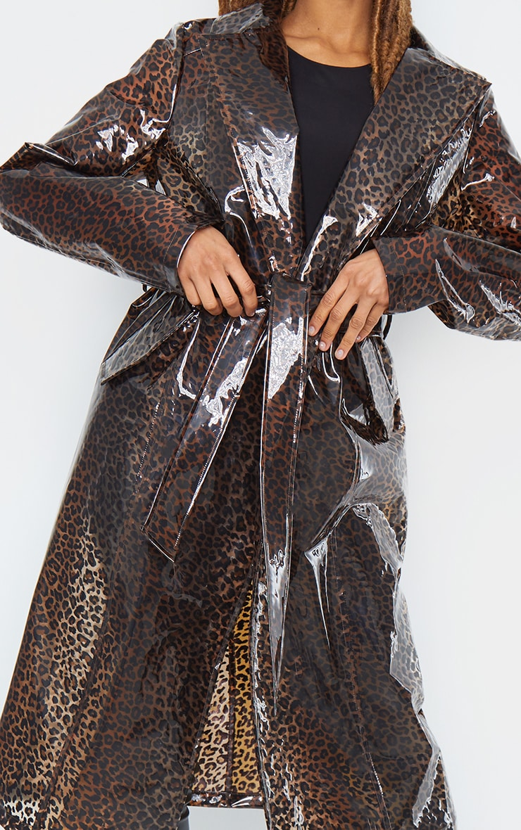 Brown Leopard Print Trench 5