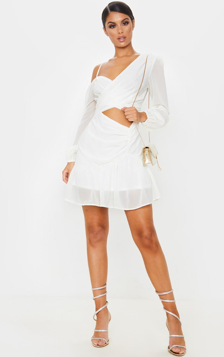 Cream Chiffon Cut Out Skater Dress 1