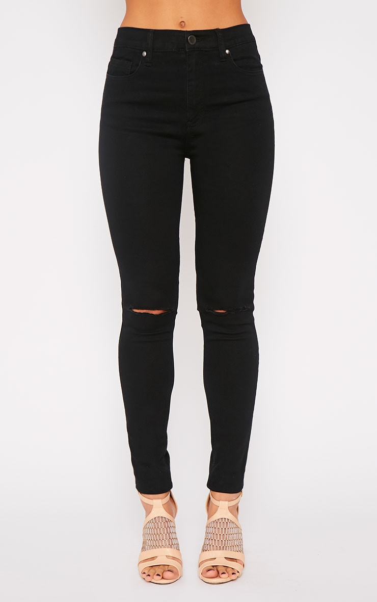 Kate Black Mid Rise Ripped Skinny Jean 4