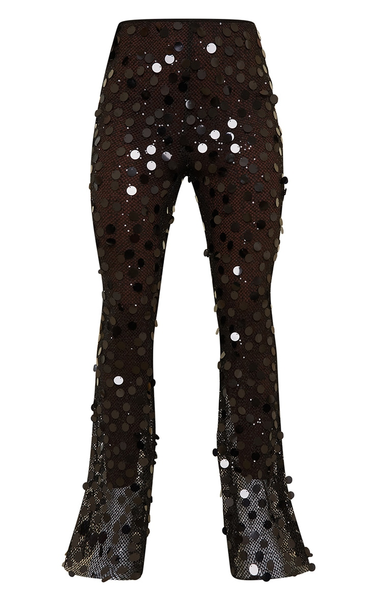 Black Sequin Fishnet Flare Trousers 5