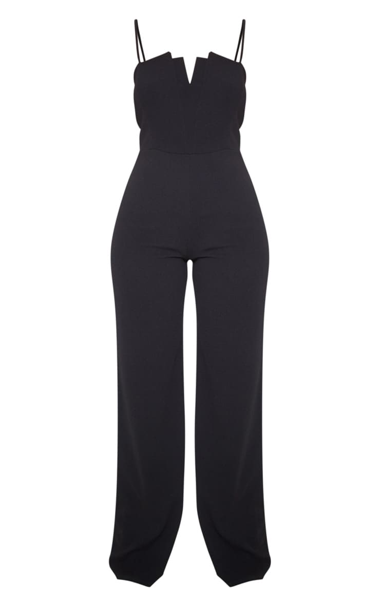 Black Strappy Pleated Plunge Jumpsuit 3