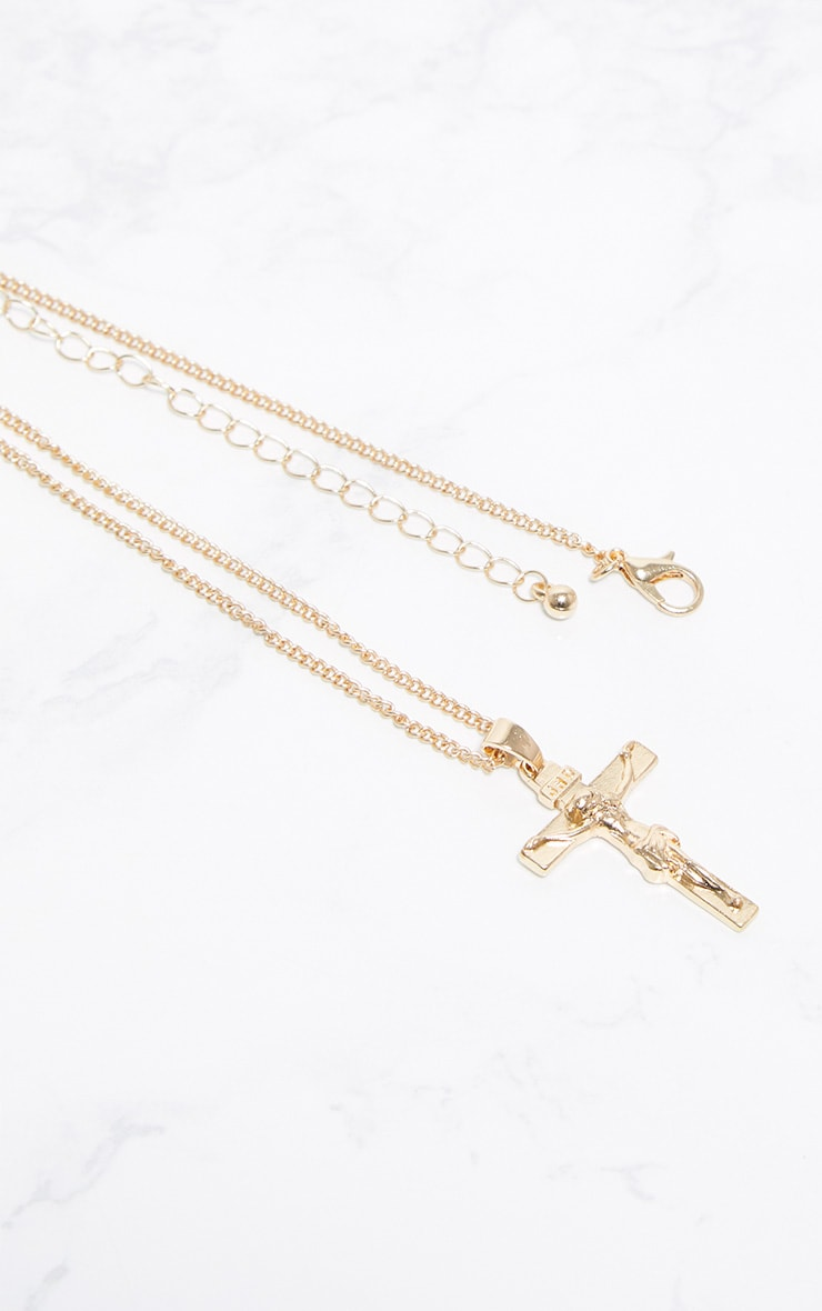 Gold Cross Thin Chain Necklace 3