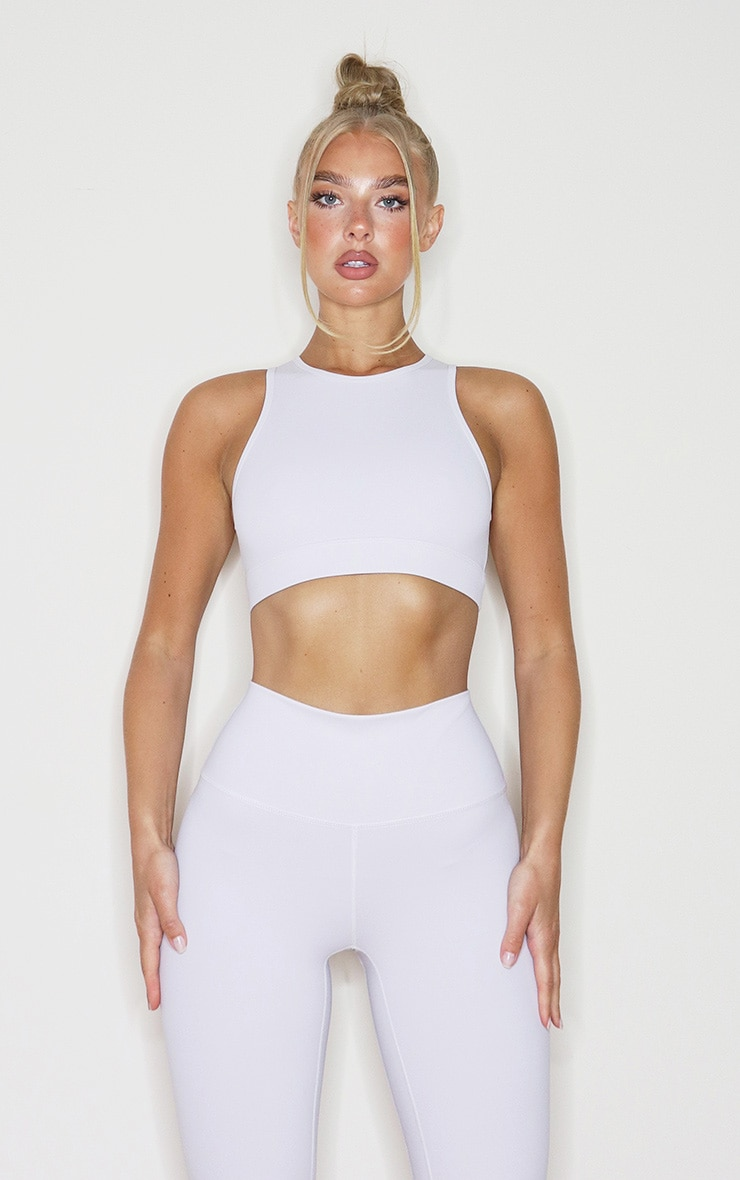 Light Grey Sculpt Luxe Racer Neck Sports Crop Top 1