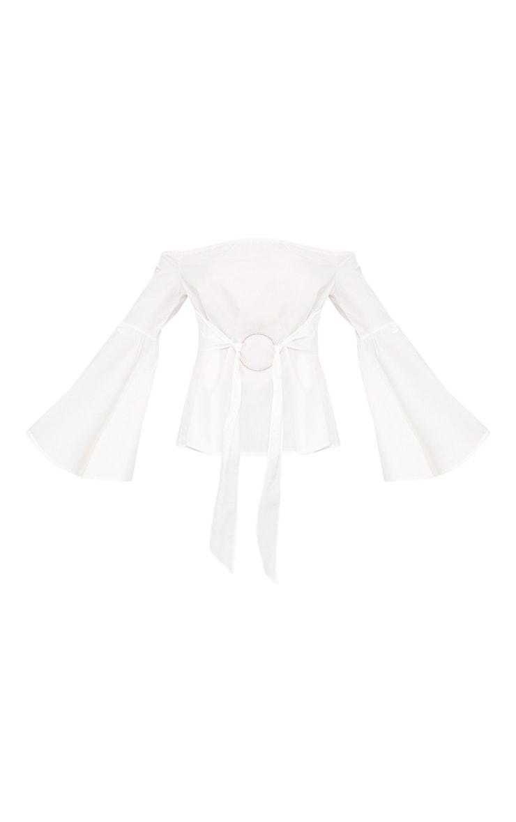 White Bardot O Ring Shirt  3