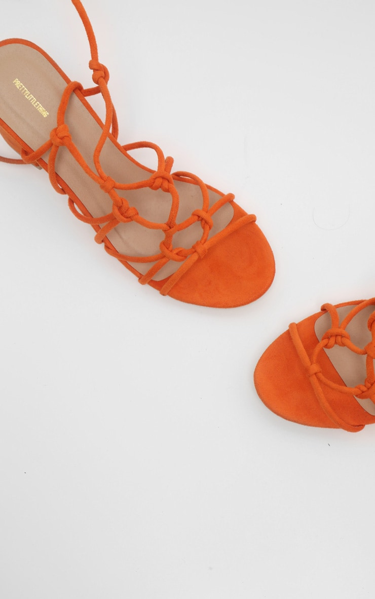 Orange Block Heel Leg Tie Sandal 4