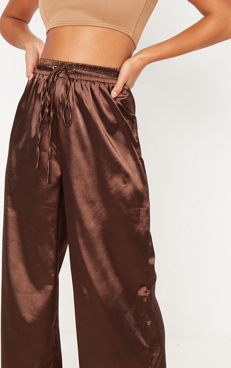 Petite Chocolate Brown Satin Tie Waist Wide Leg Trousers 5
