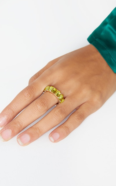 Yellow All Round Diamante Band Ring