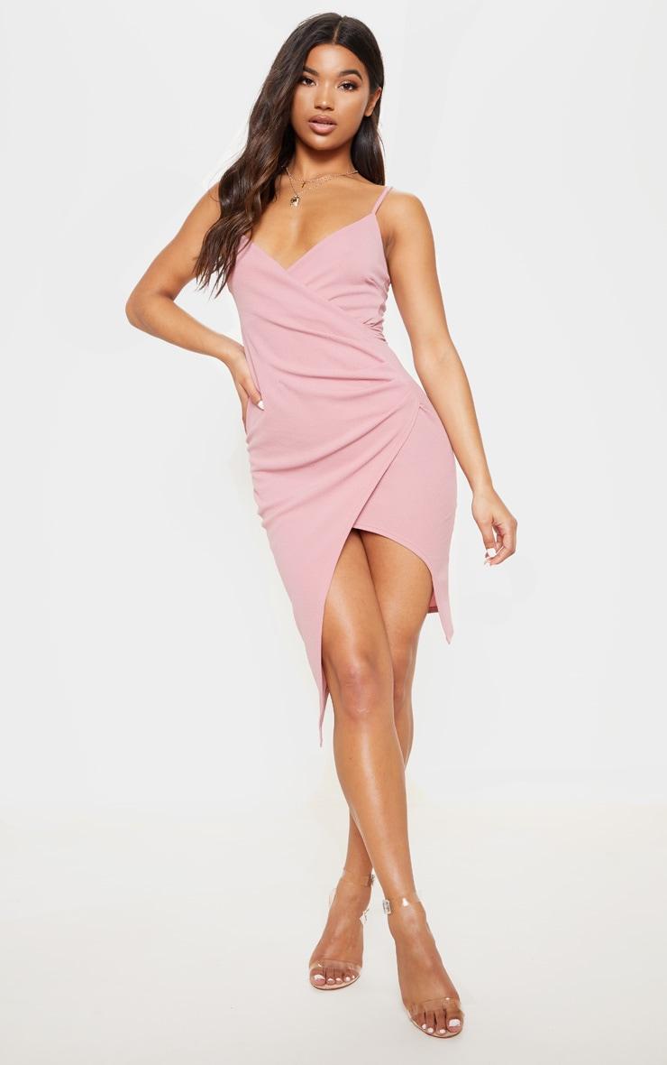 Lauriell robe midi rose en crêpe cache-cœur 1