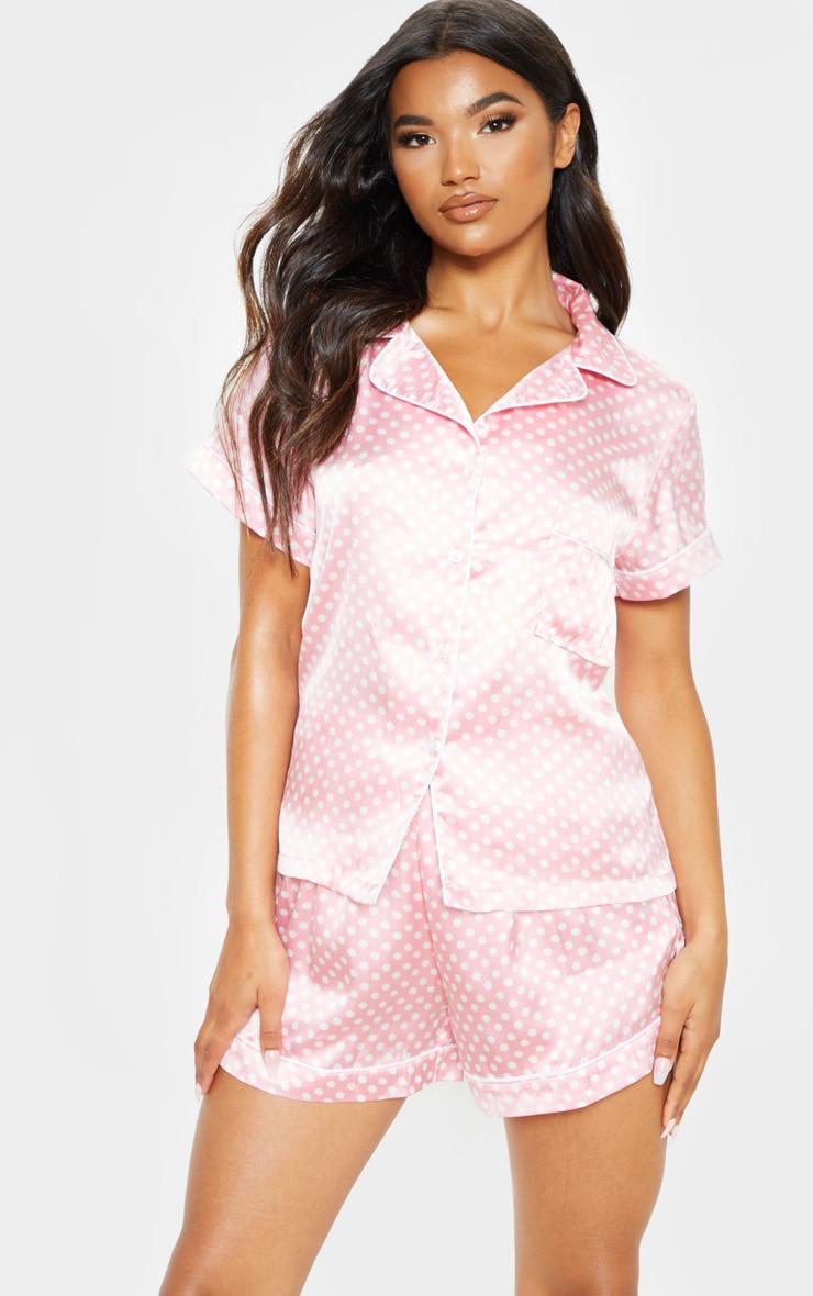 1d09aa623d Pink Polka Dot Satin Pyjama Short Set | PrettyLittleThing
