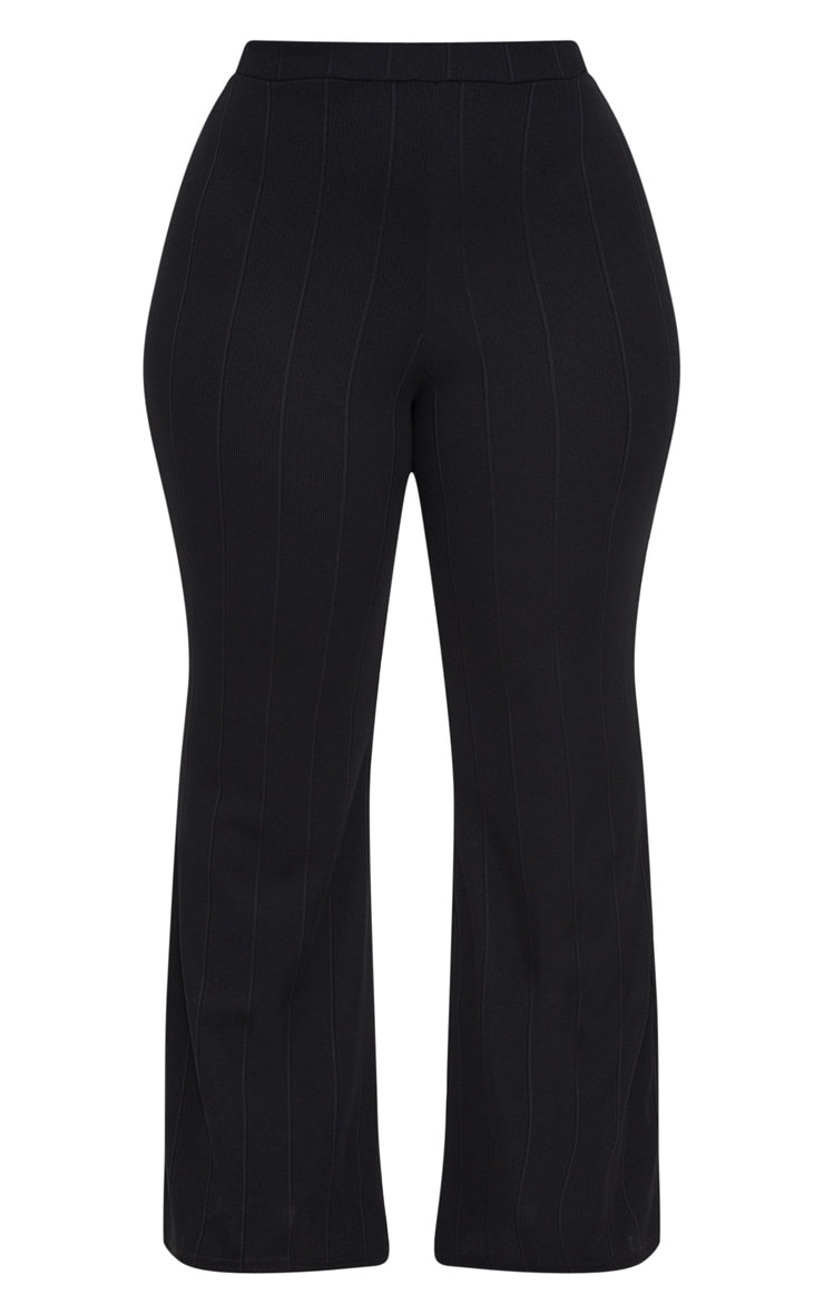 Plus Black Bandage Wide Leg Trousers 3