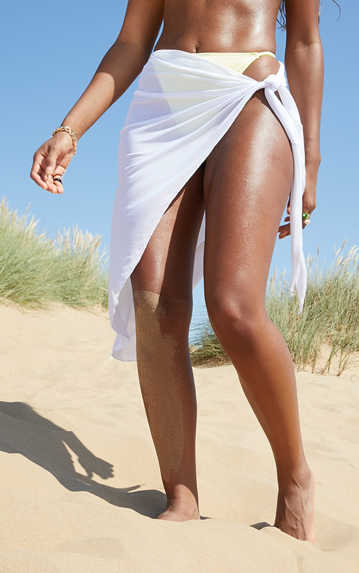 White Mesh Asymmetric Tie Side Beach Sarong 2