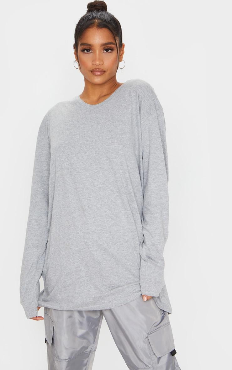 Grey Oversized Boyfriend Long Sleeve T Shirt 1