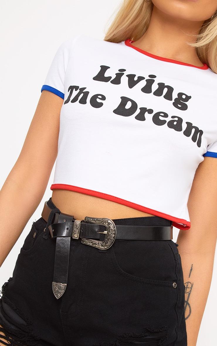 White Living The Dream 80's Slogan T Shirt 5