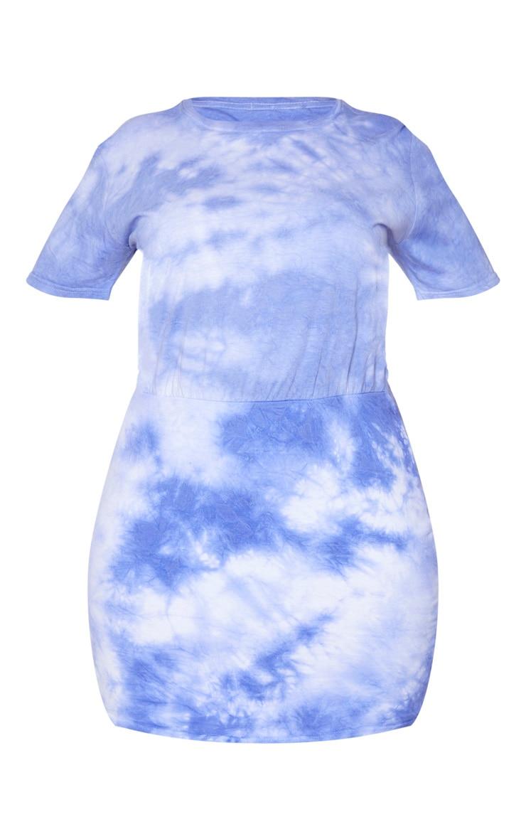 Plus Purple Tie Dye Waist Seam T-Shirt Dress 5